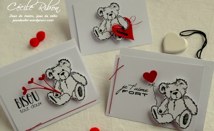 Des Mini-cartes #5 – Des nounours pour laSaint-Valentin.
