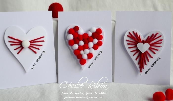 Des Mini-cartes #9 – Cœurs de laine et de pompons  pour laSaint-Valentin.