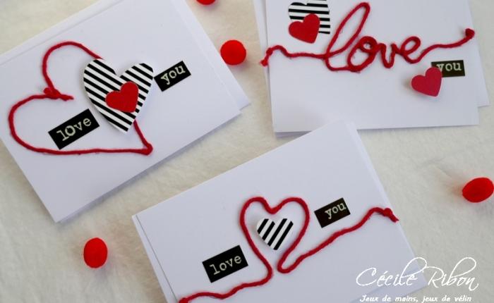 Des Mini-cartes #10 – L'amour en laine  pour laSaint-Valentin.