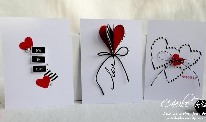 Des Mini-cartes #11 – Cœurs rouges et  rayures noires  pour laSaint-Valentin.